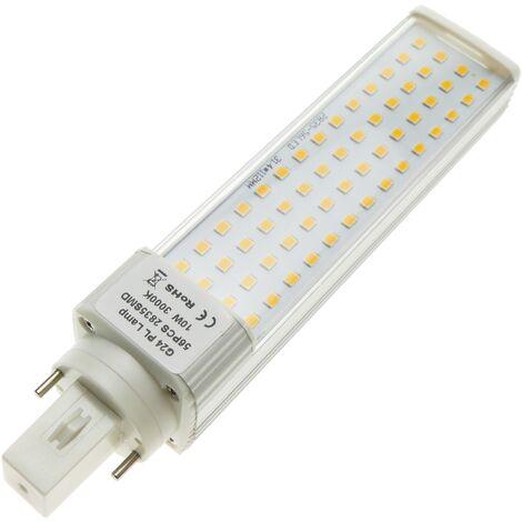 BeMatik - Lámpara de tubo LED PLC G24 85-265VAC 10W Bombilla de luz cálida