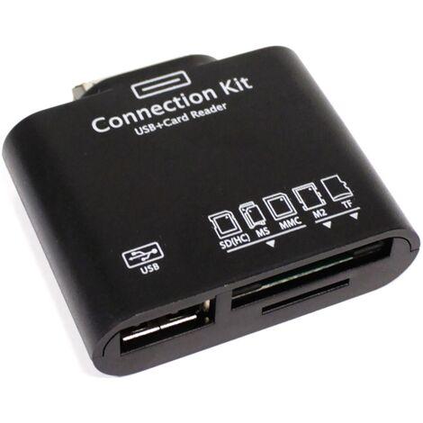 BeMatik - Lector tarjetas de memoria y USB para Samsung Galaxy Tab compatible MS M2 SD MMC TFlash