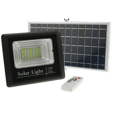 BeMatik - LED light focus panel 25W outdoor IP65 with 5000 mAh rechargeable battery and solar panel