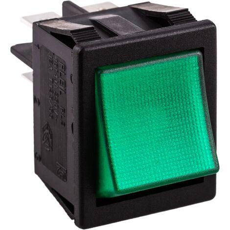 BeMatik - Luminous green rocker switch DPST 4 pin