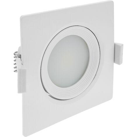 BeMatik - Luz LED 90mm empotrada cuadrada 7W blanco cálido 3200K