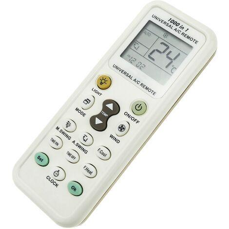 BeMatik - Mando a distancia universal. Control remoto para aire acondicionado, calefacción y climatización 49x134x24 mm
