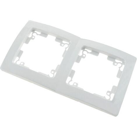 BeMatik - Marco doble para 2 mecanismos empotrables 150x80mm serie Lille de color blanco