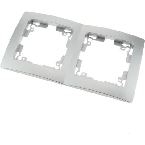 BeMatik - Marco doble para 2 mecanismos empotrables 150x80mm serie Lille de color plata y gris