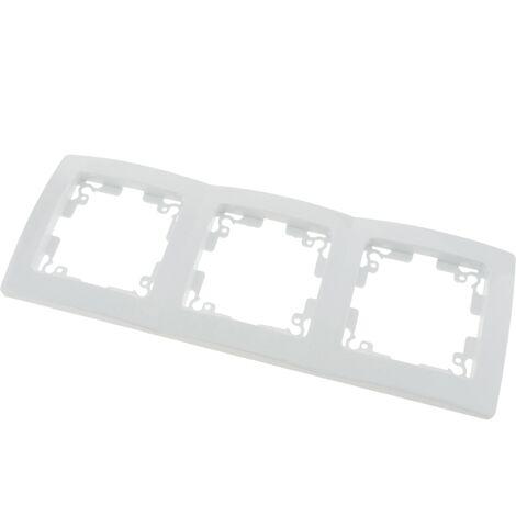 BeMatik - Marco triple para 3 mecanismos empotrables 225x80mm serie Lille de color blanco