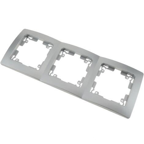 BeMatik - Marco triple para 3 mecanismos empotrables 225x80mm serie Lille de color plata y gris