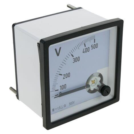 BeMatik - Medidor eléctrico analógico de panel cuadrado 72x72mm 500V voltímetro