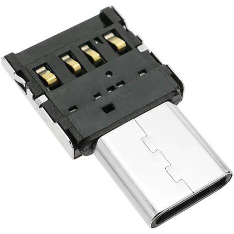 BeMatik - Mini adaptador OTG USB 2.0 USB tipo C macho a USB tipo A hembra