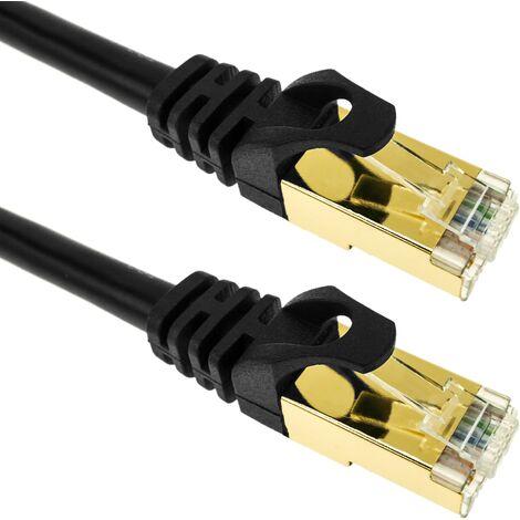 BeMatik - Network cable ethernet 25 cm LAN SFTP RJ45 Cat.7 black