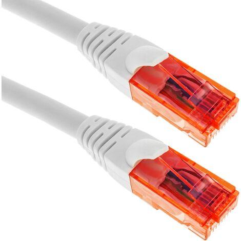 BeMatik - Network cable ethernet LAN RJ45 UTP 24 AWG Ultra flexible Cat. 6A white 15 m