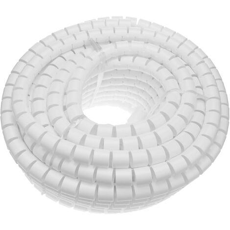 BeMatik - Organizador de cables. Funda blanca con clip de 15-20 mm longitud 2,5 m