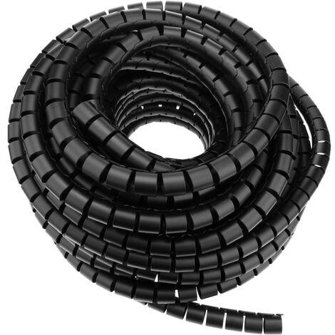 BeMatik - Organizador de cables. Funda negra con clip de 15-20 mm longitud 2,5 m