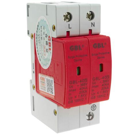 "main image of ""BeMatik - Overvoltage protector and electric shock. 20-40KA 2P 220VAC DIN rail SPD DW-0508"""