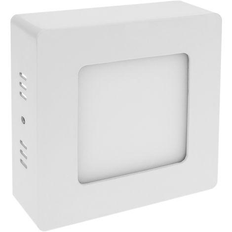BeMatik - Panneau LED surface de downlight carré 120mm 6W blanc chaud
