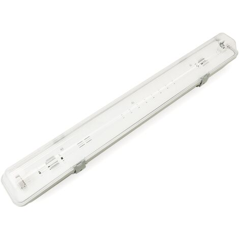 BeMatik - Pantalla estanca para tubo LED 1 x 600 mm con conexión en dos extremos IP65 T8 G13