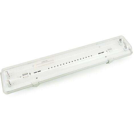 BeMatik - Pantalla estanca para tubo LED 2 x 600 mm con conexión en un extremo IP65 T8 G13