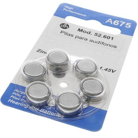 BeMatik - Piles pour appareils auditifs de A675 package Zinc Air de 6 unités