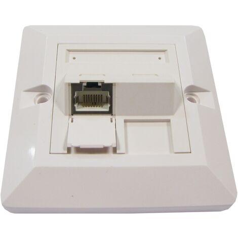 BeMatik - Placa de pared de 80x80 de 1 RJ45 Cat.6 FTP