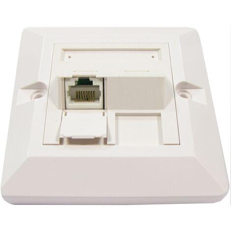 BeMatik - Placa de pared de 80x80 de 1 RJ45 Cat.6 UTP