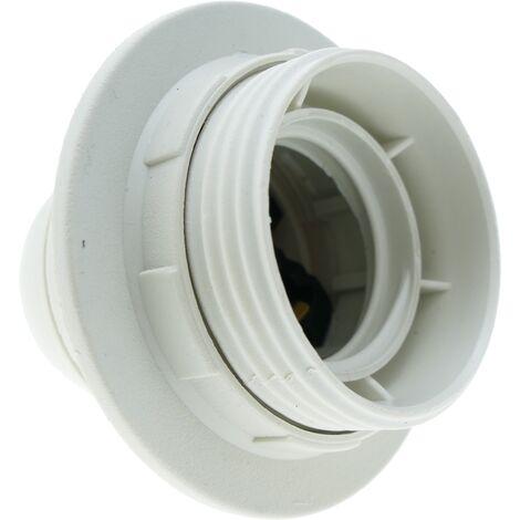 BeMatik - Portalámparas blanco con rosca exterior para 1 bombilla E27