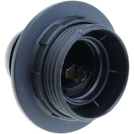 BeMatik - Portalámparas negro con rosca exterior para 1 bombilla E27