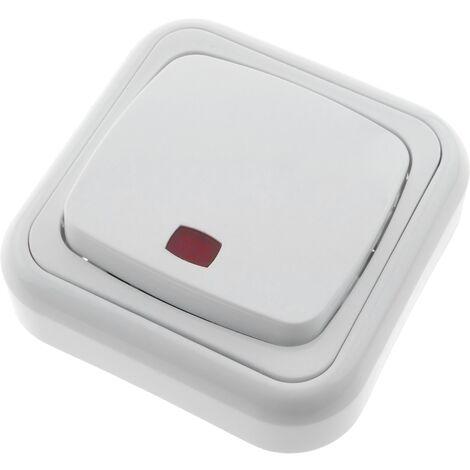 BeMatik - Poussoir lumineux avec plaque de finition 80x80mm blanc