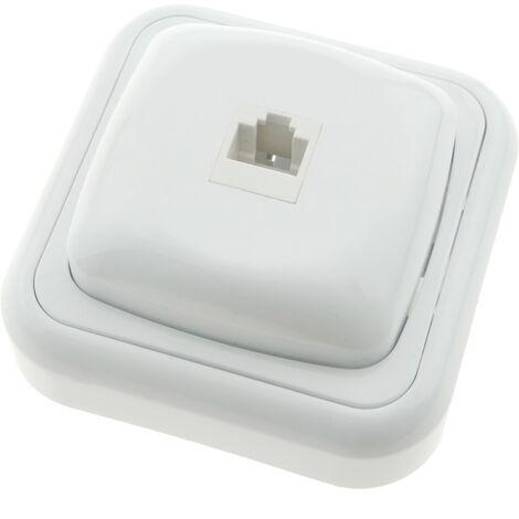 BeMatik - Prise ethernet RJ45 avec plaque de finition 80x80mm blanc