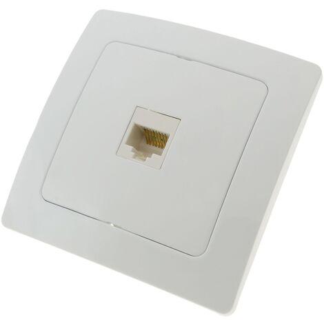 BeMatik - Prise ethernet RJ45 encastrable avec plaque de finition 80x80mm série Lille blanc