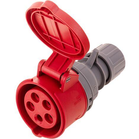 BeMatik - Prise industrielle CEE plug femelle 3P+T+N 32A 380V IP44 IEC-60309 de surface