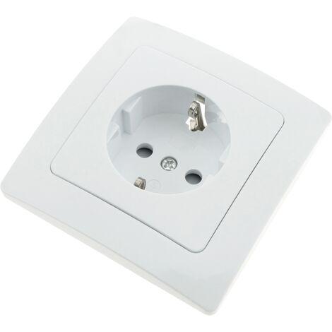BeMatik - Prise schuko encastrable avec plaque de finition 80x80mm série Lille blanc