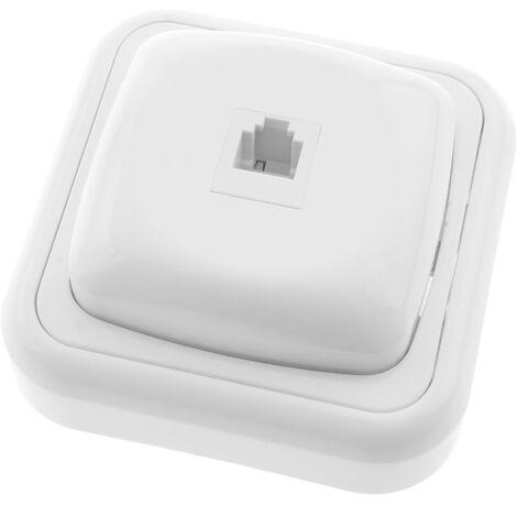 BeMatik - Prise téléphone RJ11 avec plaque de finition 80x80mm blanc