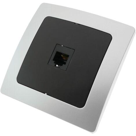 BeMatik - Prise téléphone RJ11 encastrable avec plaque de finition 80x80mm série Lille argent et gris