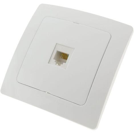BeMatik - Prise téléphone RJ11 encastrable avec plaque de finition 80x80mm série Lille blanc