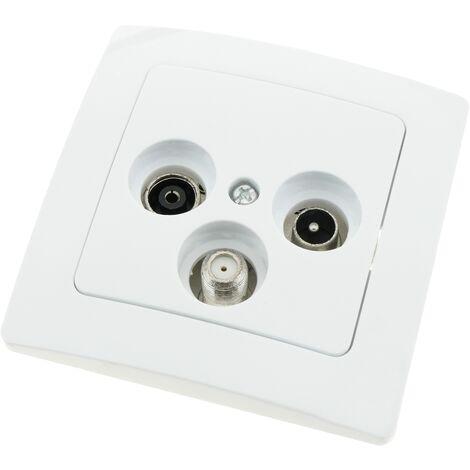 BeMatik - Prise TV/SAT/R encastrable avec plaque de finition 80x80mm série Lille blanc