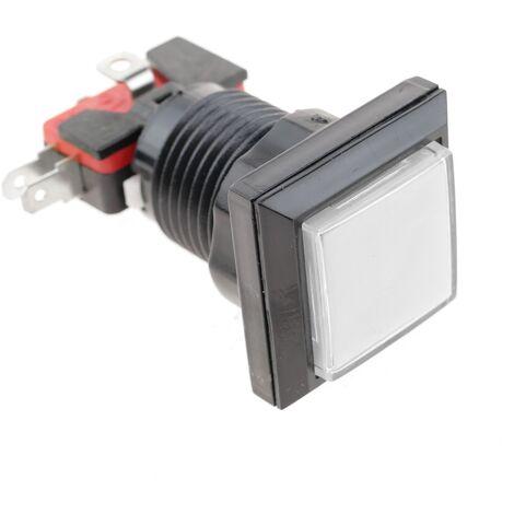 BeMatik - Pulsador arcade momentáneo 32x32 mm 1NO 1NC 250V 15A SPDT blanco con luz