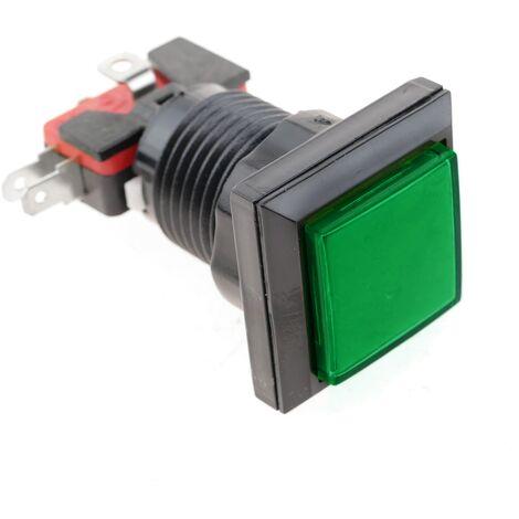 BeMatik - Pulsador arcade momentáneo 32x32 mm 1NO 1NC 250V 15A SPDT verde con luz