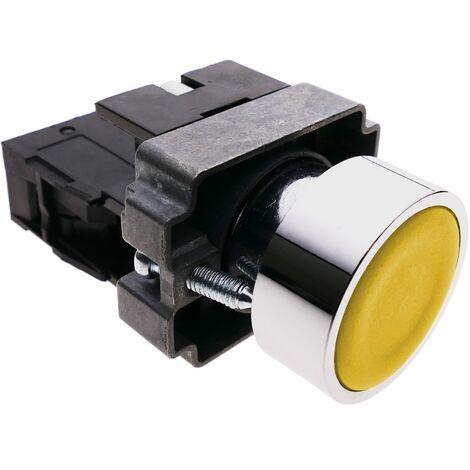 BeMatik - Pulsador de enganche 22mm 400V 10A con bloqueo amarillo