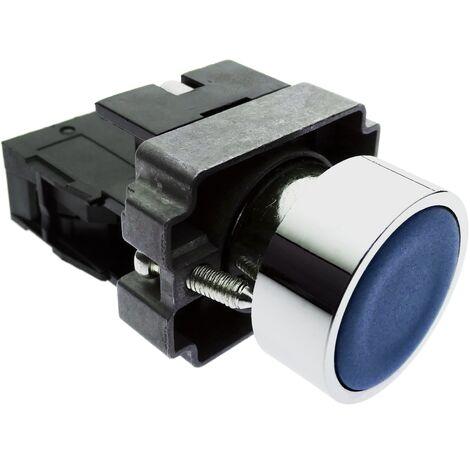 BeMatik - Pulsador de enganche 22mm 400V 10A con bloqueo azul