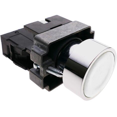 BeMatik - Pulsador de enganche 22mm 400V 10A con bloqueo blanco