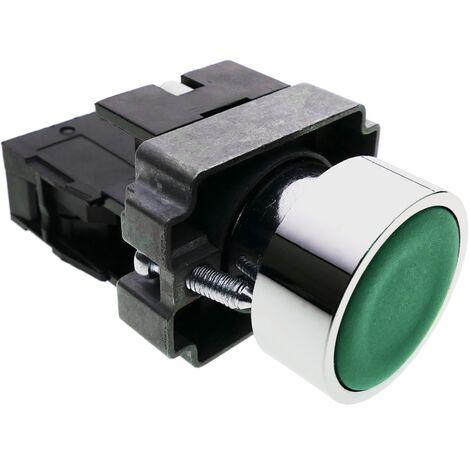 BeMatik - Pulsador de enganche 22mm 400V 10A con bloqueo verde
