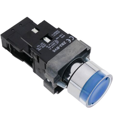 BeMatik - Pulsador de enganche 22mm 400V 10A con bloqueo y luz LED azul