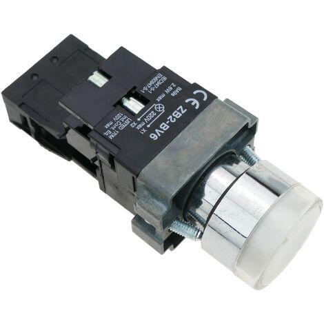 BeMatik - Pulsador de enganche 22mm 400V 10A con bloqueo y luz LED blanco