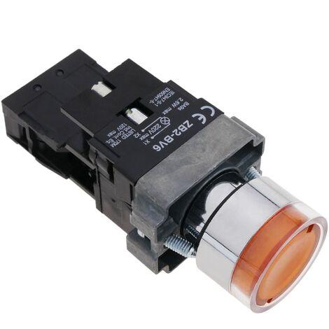 BeMatik - Pulsador de enganche 22mm 400V 10A con bloqueo y luz LED naranja