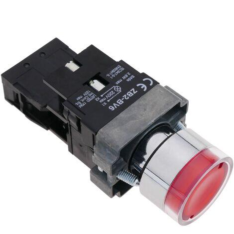 BeMatik - Pulsador de enganche 22mm 400V 10A con bloqueo y luz LED roja