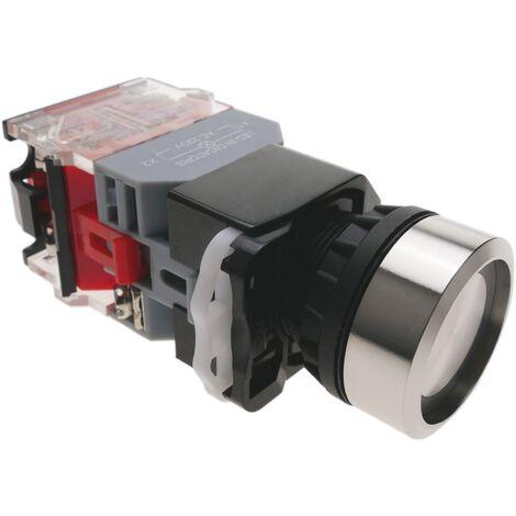 BeMatik - Pulsador de enganche 22mm 500V 10A con bloqueo y luz LED
