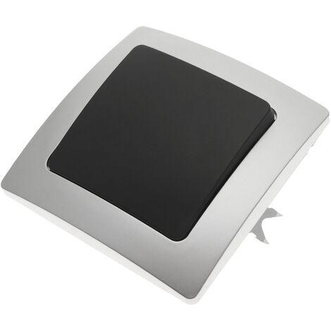 BeMatik - Pulsador empotrable con marco 80x80mm serie Lille de color plata y gris