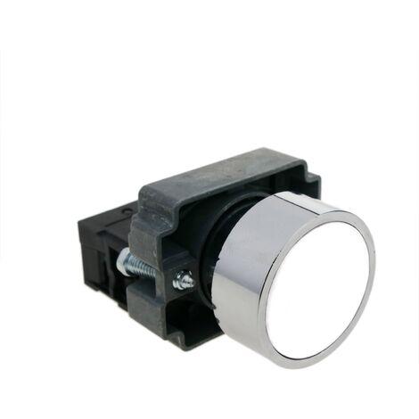 BeMatik - Pulsador momentáneo 22mm 1NC 400V 10A normal cerrado blanco