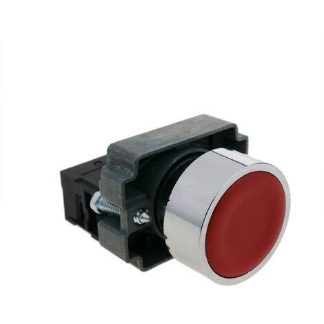 BeMatik - Pulsador momentáneo 22mm 1NC 400V 10A normal cerrado rojo