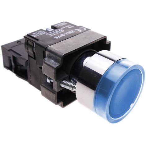 BeMatik - Pulsador momentaneo 22mm 1NO 400V 10A normal abierto con luz LED azul