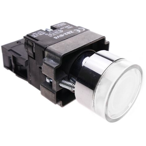 BeMatik - Pulsador momentaneo 22mm 1NO 400V 10A normal abierto con luz LED blanco